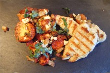 Grilled chicken with roasted tomato salad