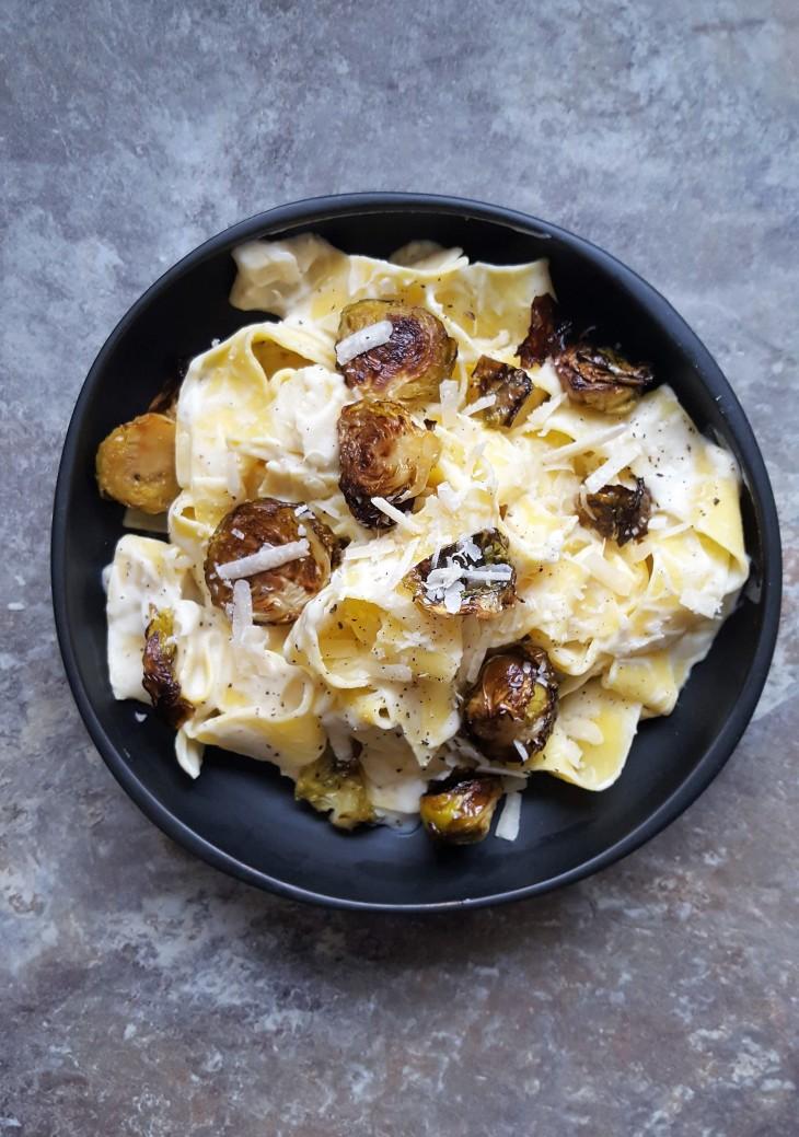 brown butter cauliflower puree on pasta