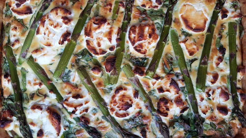 green goddess quiche baked close up
